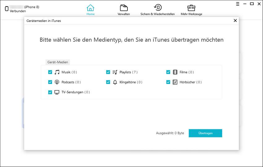 Medien in iTunes übertragen