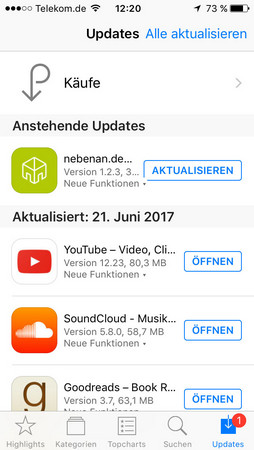 iphone software aktualisieren im App Store