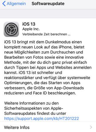 """iOS 13 hängt mit """"Verbleibende Zeit berechnen"""""""