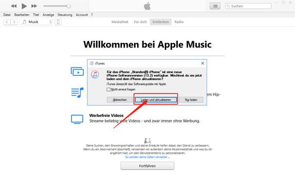 iphone iOS 13 update durch verbindung mit itunes