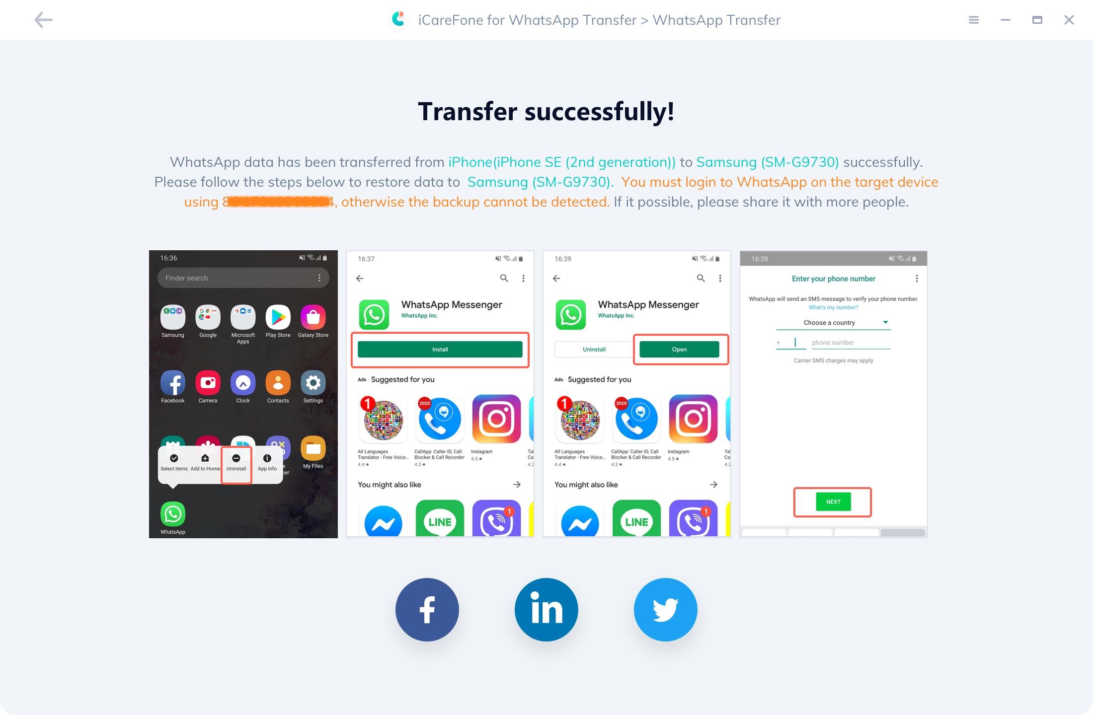 icarefone WhtasApp Transfer WhatsApp Nachrichten werden erfolgreich übertragen
